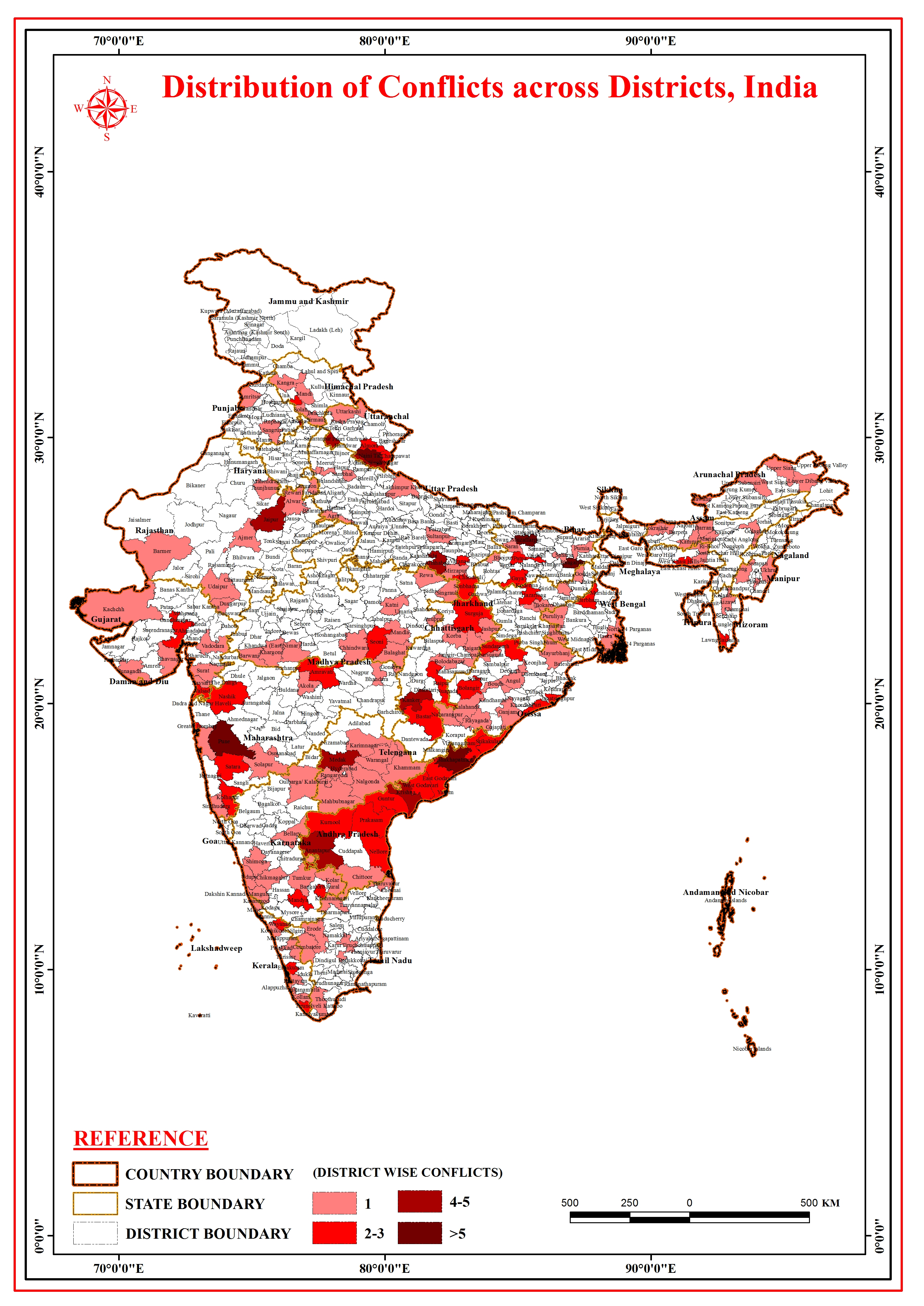 Map | Distribution of Conflicts Across Districts, India | November 2016