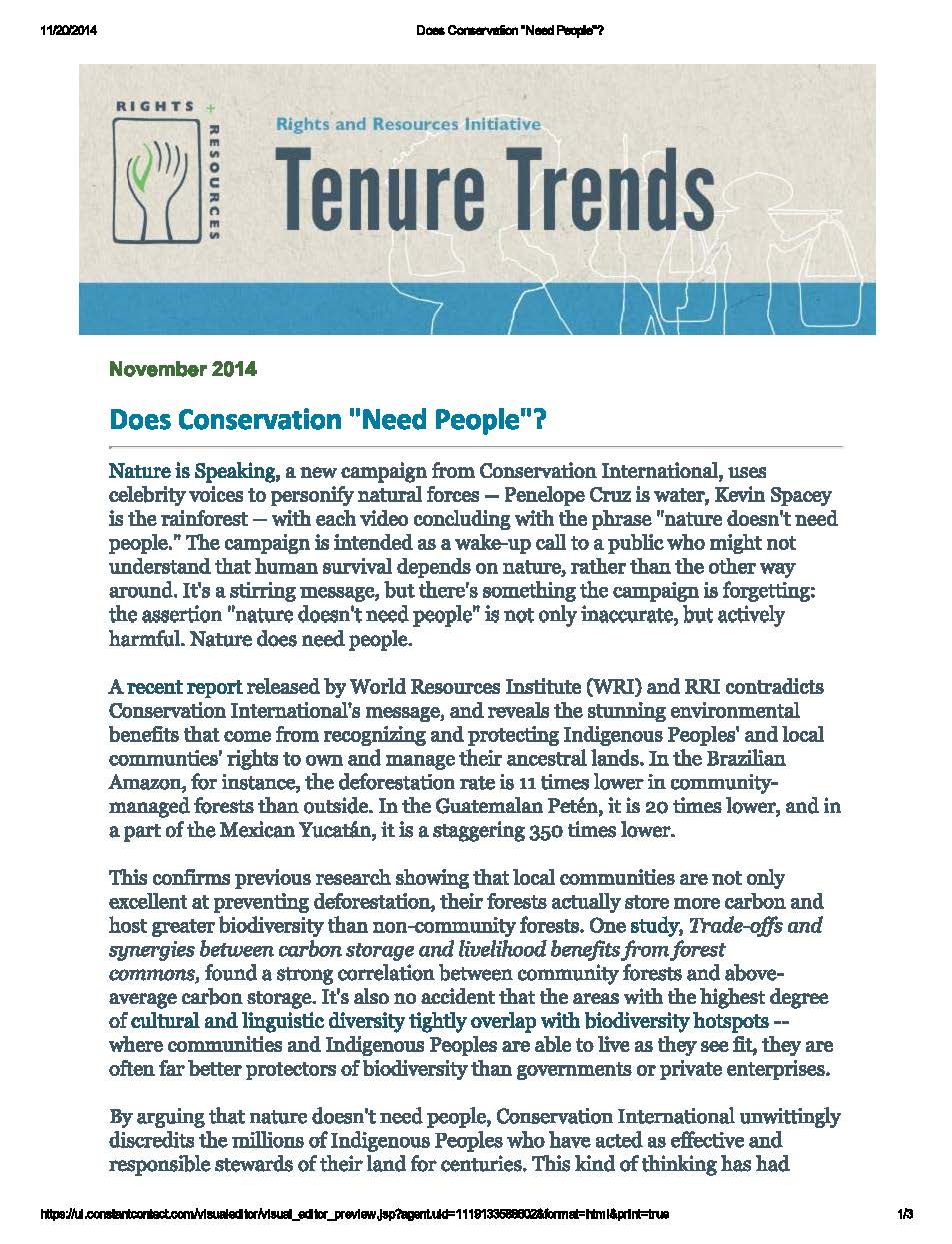 Tenure Trends | Rights + Resources