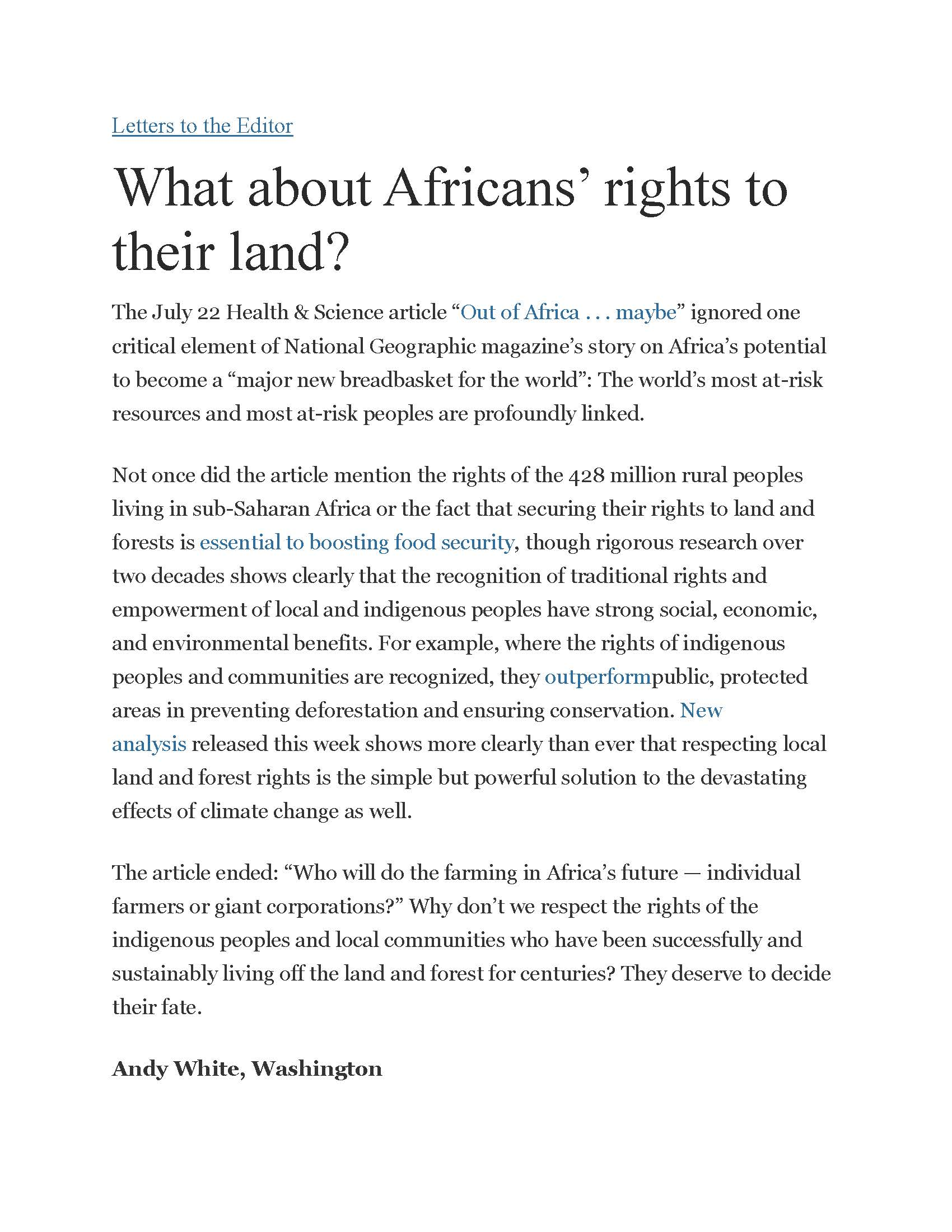 washington post what about africans rights to their land