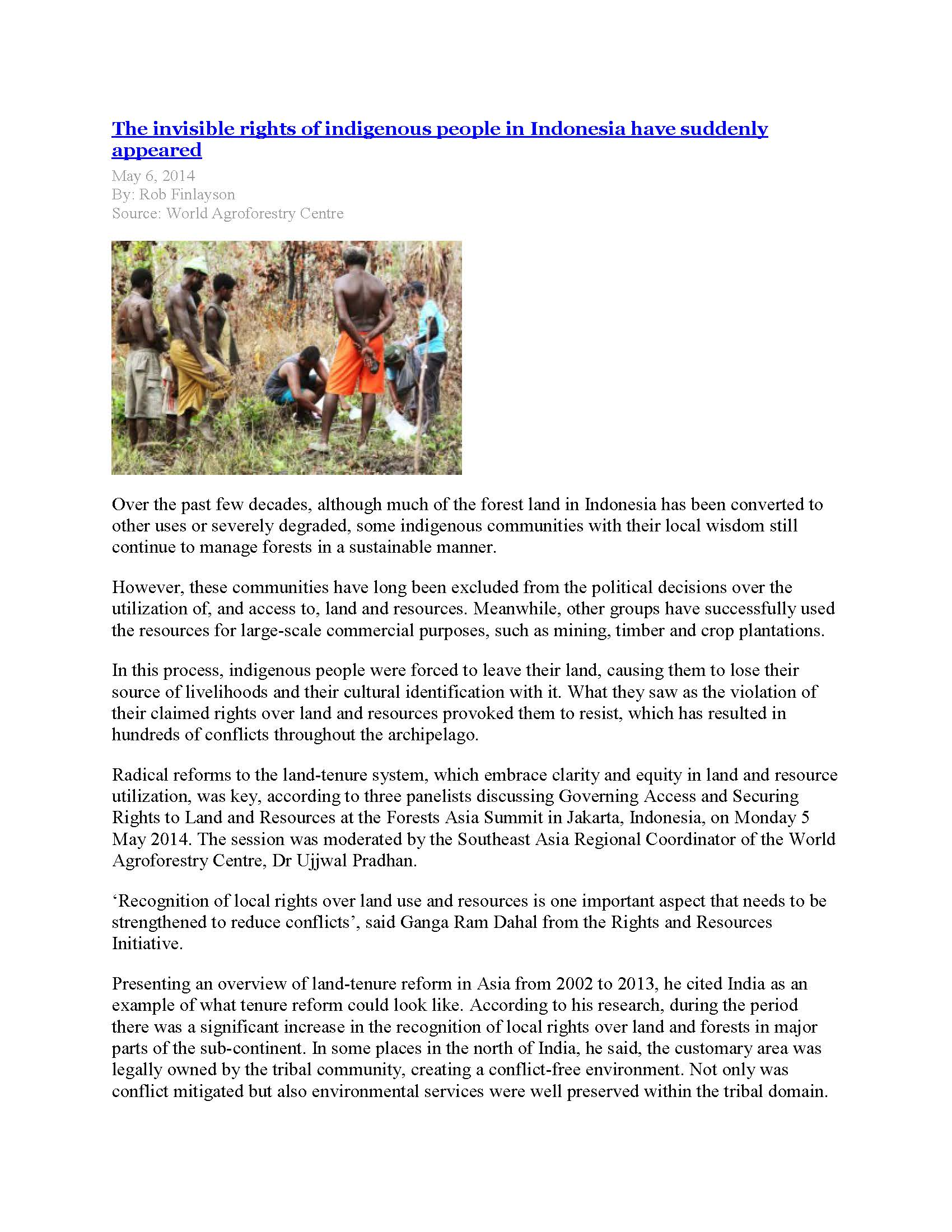 World AgroForestry Centre: The invisible rights of